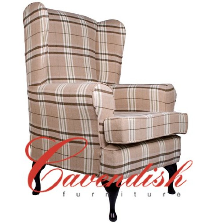 Beige Tartan Deep Seat Orthopedic Chair