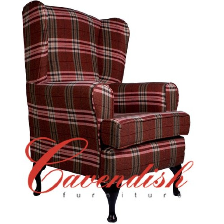 Extra Wide Orthopedic High Seat Chair in Balmoral Red Tartan