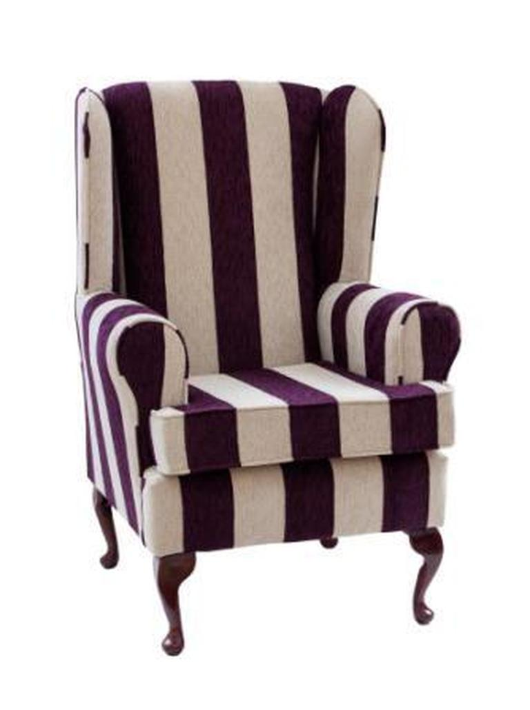 Luxury Orthopaedic High Seat Chair in Harrison stripe Plum